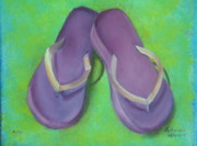 Flip-flops Paintings - Purple Flip Flops by Gabriela Valencia