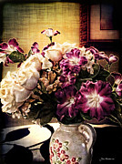 Tabletop Framed Prints - Purple Floral Arrangement Framed Print by Joan  Minchak