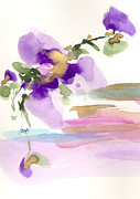 Flood Drawings Prints - Purple Flower Print by Darlene Flood