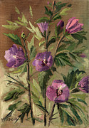 Hand Made Art - Purple Flowers 2 by Rachel Hershkovitz