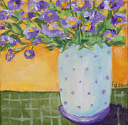 Purple Flowers Pastels Posters - Purple flowers and dots Poster by Pat Olson