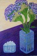 Flovers Prints - Purple Flowers and Ice Print by Jasna Gopic