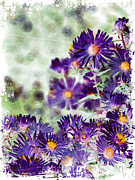 Fish Artwork - Purple Flowers by Miss Dawn