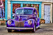 Hot Rod Car Prints - Purple Ford DeLuxe Print by Carol Leigh