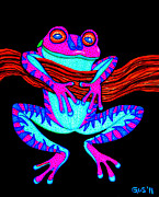 Frog Drawings - Purple Frog Hanging On by Nick Gustafson