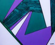 Geometric Shapes Mixed Media Posters - Purple Geometric Poster by Marsha Heiken