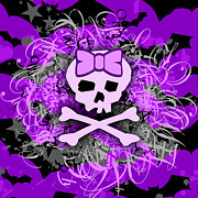 Girly Skull Posters - Purple Girly Skull Poster by Roseanne Jones