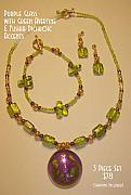 Music Jewelry - Purple Glass with Green Avertine and Fushia Dichroic Glass Accents by Michelle Lake