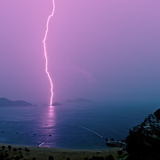 Hong Kong Prints - Purple Glow Of Lightning Print by Judi Mowlem