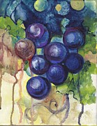Blue Grapes Painting Posters - Purple Grapes II  Poster by Peggy Wilson