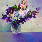 Flowers Canvas Painting Prints - Purple Green Posy Print by Susanne Clark