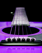 Strings Digital Art Acrylic Prints - Purple Guitar 15 Acrylic Print by Andee Photography