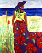 Gullah Paintings - Purple Hat by Diane Britton Dunham