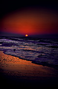 Beach Sunsets Posters - Purple Haze Poster by Emily Stauring