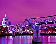 Relaxed Prints - Purple Haze St Pauls and Thames at Night Print by Chris Smith