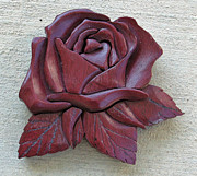 Intarsia Sculpture Posters - Purple Heart Rose Poster by Bill Fugerer