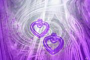 Abstract Hearts Digital Art - Purple Hearts by Linda Sannuti