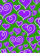 Green Color Art - Purple Hearts On Green Background by Lana Sundman