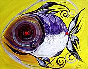 Tropical Fish Painting Originals - Purple Jacket on Yellow by J Vincent Scarpace