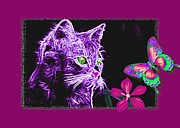 Kittens Mixed Media Framed Prints - Purple Kitten Framed Print by Tisha McGee