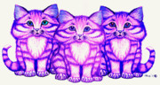 Fantasy Creatures Drawings Prints - Purple Kittens Print by Nick Gustafson