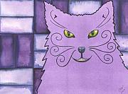 Whimsy Framed Prints - Purple Kitty Kitty Framed Print by Catherine G McElroy