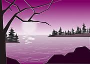 Twilight Mixed Media Prints - Purple Lake Print by Anastasiya Malakhova