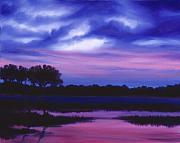 Sunrise Painting Originals - Purple Landscape or Jeans Clearing by James Christopher Hill
