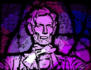 Abe Lincoln Digital Art Posters - Purple Lincoln Poster by George Pedro