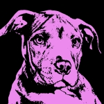 Pit Bull Mixed Media Metal Prints - Purple Little Pittie Metal Print by Dean Russo