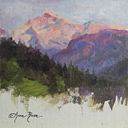 Switzerland Paintings - Purple Majesty Plein Air Study by Anna Bain