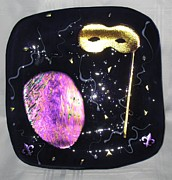 Dichroic Art Glass Glass Art Originals - Purple Mardi Gras Plate by Sandy Feder