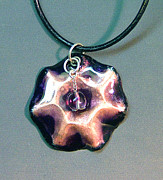 Hand Painted Pendant Jewelry - Purple Marshmallow by Asya Ostrovsky