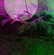 Digital Collage Posters - Purple Moon Poster by Ann Powell