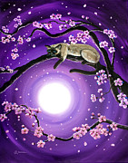 Laura Iverson Framed Prints - Purple Moonlight Sakura Framed Print by Laura Iverson