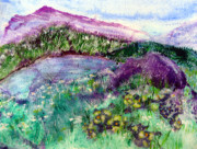 Imagined Landscape  Posters - Purple Mountains Poster by Sarah Hornsby