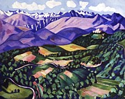 Hartley Posters - Purple  Mountains  Vence Poster by Pg Reproductions