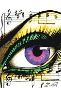 Musical Notes Drawings Prints - Purple Music Eye Print by Alan Zinn