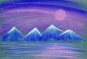 Sea Moon Full Moon Pastels Prints - Purple Night 3 Print by Hakon Soreide