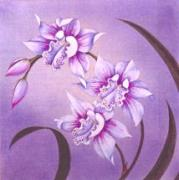 Orchids Tapestries - Textiles - Purple Orchids by Mary Favero
