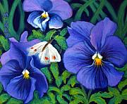 Purple Flowers Pastels Posters - Purple Pansies and White Moth Poster by Minaz Jantz