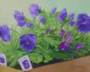 K Joann Russell Art - Purple Pansies Colorful Original Oil Painting Garden Art by K Joann Russell