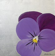 Silver Leaf Paintings - Purple Pansy on Silver Leaf by Michele Harps