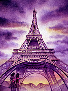 Watercolor By Irina Posters - Purple Paris Poster by Irina Sztukowski