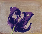 Purple Tulip Paintings - Purple Parrot Tulip by Nadine Makos