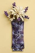 Purple Glass Art - Purple Passion Glass Wall Vase by Cydney Morel-Corton