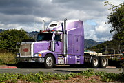 Eastbay Framed Prints - Purple Peterbilt Big Rig Truck . 7D15085 Framed Print by Wingsdomain Art and Photography