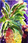 Fresh Green Painting Posters - Purple Pineapple Poster by Julie Kerns Schaper - Printscapes