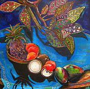 Caribbean Paintings - Purple Pineapple by Patti Schermerhorn