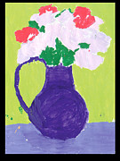 Purple Roses Prints - Purple Pitcher with Flowers Print by Elizabeth Clemmitt